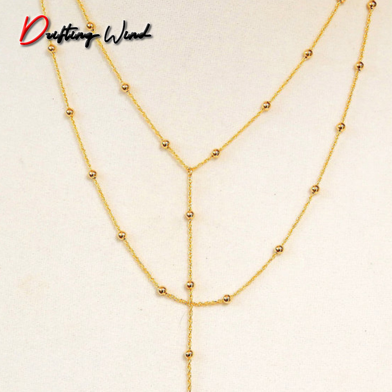 Necklaces Womans Beads Layered Necklace Chain Jewelry Pendant Ladies Tassel Lovers Gold Color Trendy Party Zinc Alloy Collares
