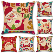 купить 1Pc Christmas Decoration Linen Pillowcase Santa Claus Elk Cotton Pillow Cover New Year Sofa Decor Christmas Decorations For Home дешево