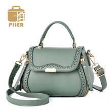 цена на Piler Elegant Women Leather Shoulder Bag Hollow Out Satchel Bag Vintage Ladies Crossbody Bag Small Handbag Purse Totes Clutch