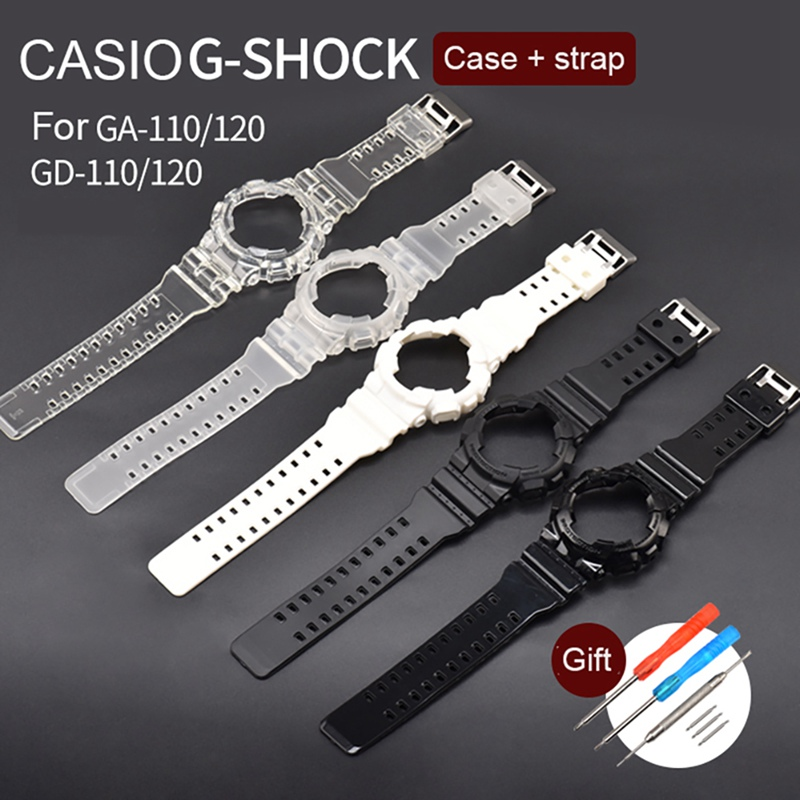 Watch Band Frame Set TPU Wristwatch Strap Case Screwdriver Spring Bar Kit Replacement Accessories For Casio GA-100/110/120