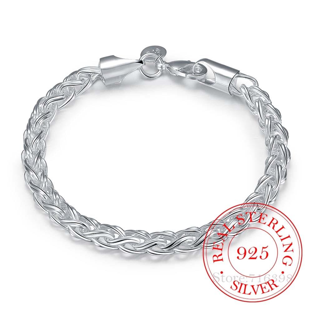 НАСТОЯЩИЕ Оригинальные серебряные браслеты 925 пробы, простые крученые круглые браслеты цепочки, браслет для мужчин и женщин, изящные мужские ювелирные изделия, подарок, хорошее качество Гибкие и жесткие браслеты    АлиЭкспресс