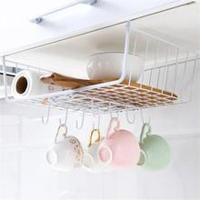 Creative cabinet partition rack With 8 Hooks Kitchen holder bedroom paste type telescopic organizer Accessories
