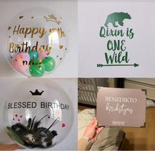 "Just Sticker! 1pc Gold Black Custom Balloon Sticker Wedding Birthday Party Decor DIY Name Valentines Day Suit For 18"" 24"" Balls"