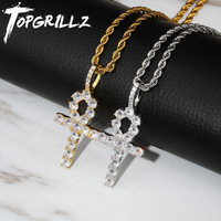 TOPGRILLZ 925 Sterling Silver Iced Zircon Ankh Cross Pendant CZ Egyptian Key of Life Pendant Necklace Hip Hop Jewelry For Man
