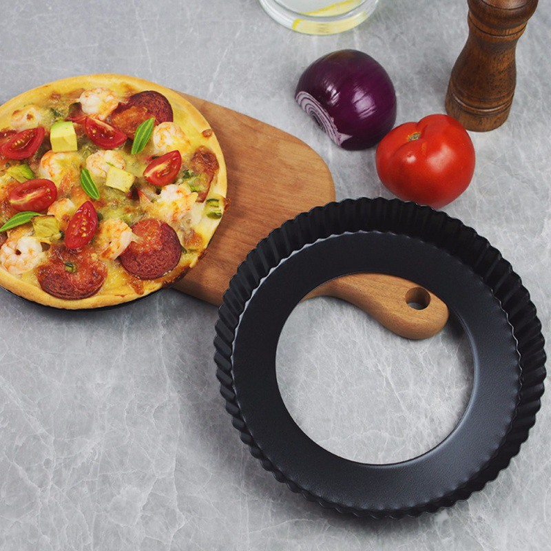 Non-Stick Pie Pizza <font><b>Pan</b></font> Plate Quiche Flan Tart Cake Molds <font><b>Round</b></font> Mould Removable Loose Bottom Fluted Pie Pizza <font><b>Baking</b></font> Dishs image