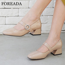FOREADA Real Leather Mary Janes Shoes Woman Med Heels Pearl Buckle Block Heel Pumps Square Toe Footwear Ladies Black Size 33-39 doratasia 2018 large size 30 47 candy colors square heels mary janes women shoes woman pumps date girls pumps shoes