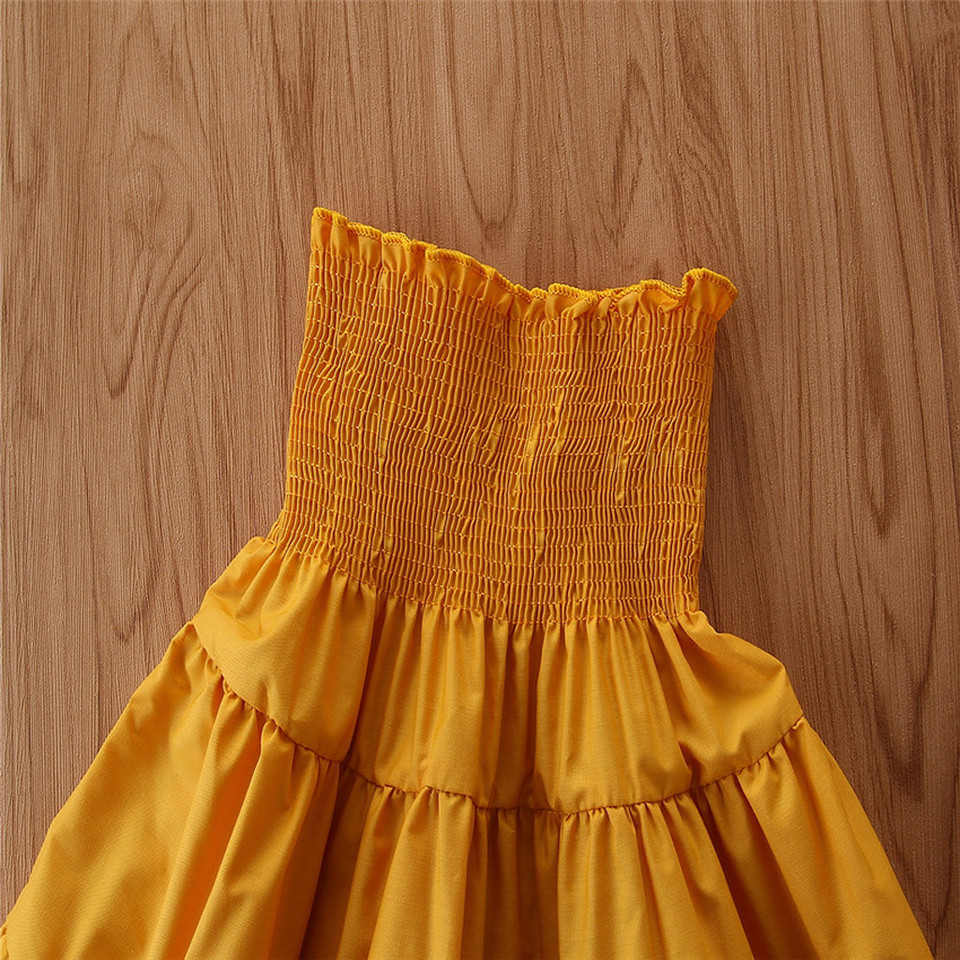 Toddler Baby Girls Summer Off Shoulder Tops+Solid Ruffle Dress+Headbands Set