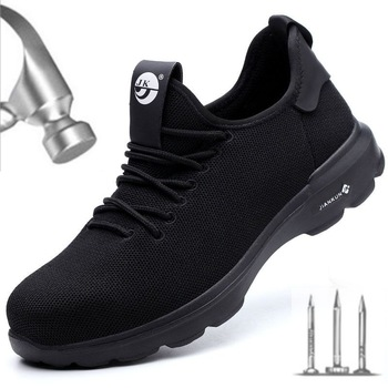 Indestructible Shoes Men Safety Work Shoes Steel Toe Puncture-Proof Boots Lightweight Breathable Sneakers Dropshipping