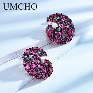 Image 3 - UMCHO אמיתי 925 כסף זרוק עגילי נוצר ננו צבעוני חן עגילים לנשים חתונה מפלגת מתנות