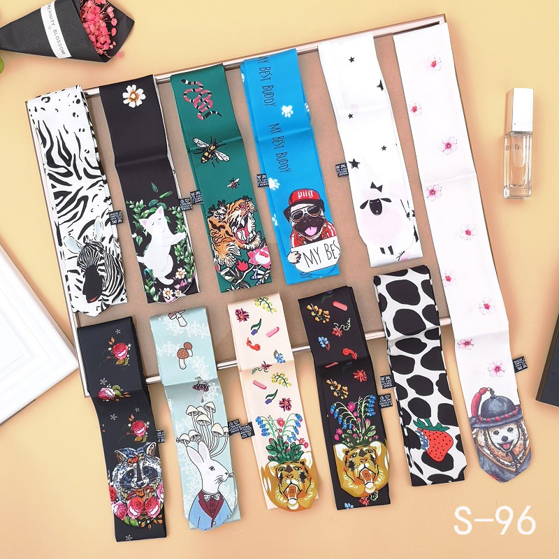 Small Silk Scarf For Women  New Print Animal Cat Handle Bag Ribbons Brand Fashion Head Scarf Small Long Skinny Scarves Wholesale