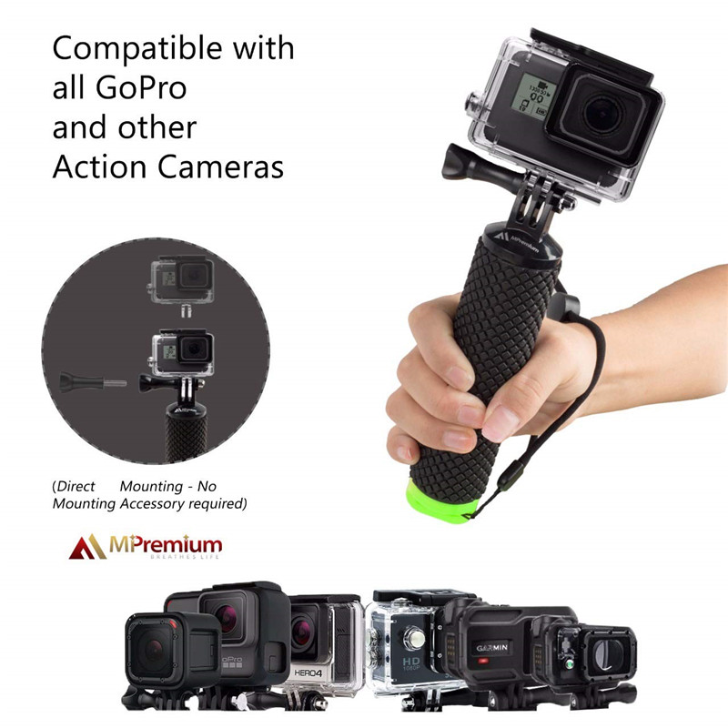 Waterproof Floating Hand Grip For Gopro Hero 8 7 6 5 Xiaomi Action Camera Kit with wrist strap Carabiner For Water Sport Camera-1