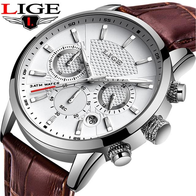 LIGE Brand Leather Brown Strap Waterproof Luminous Dial Chronograph Top Luxury Quartz Military Sport Mens Watch Reloj Hombre