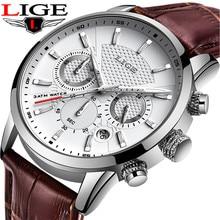 LIGE แบรนด์หนังสีน้ำตาลกันน้ำ Luminous Dial Chronograph นาฬิกาสุดหรูควอตซ์ทหารกีฬาผู้ชายนาฬิกา Reloj Hombre