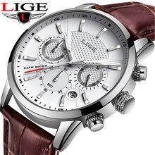 LIGE marka skóry brązowy pasek wodoodporny Luminous Dial Chronograph Top luksusowy zegarek kwarcowy wojskowy Sport zegarek męski Reloj Hombre