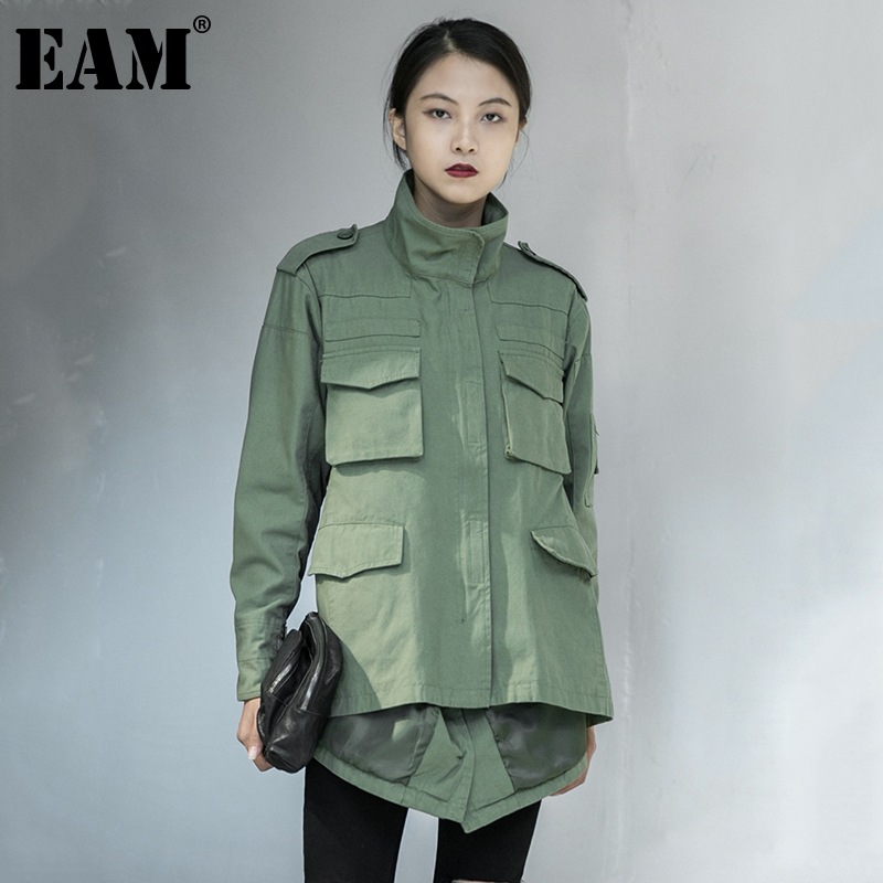 [EAM] Loose Fit Back Irregular Two Ways Wear Big Size Jacket New Lapel Long Sleeve Women Coat Fashion Spring Autumn 2020 1DA902 1