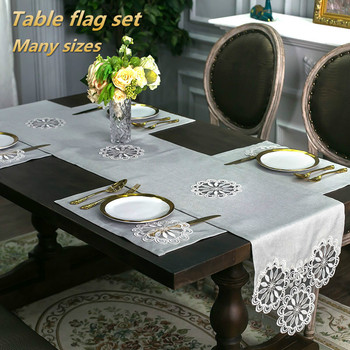 British Style Luxury Linen Embroidered Table Runner Flag Mat Placemat Hotel Villa Desk Decoration Piano Cloth Set Camino De Mesa image