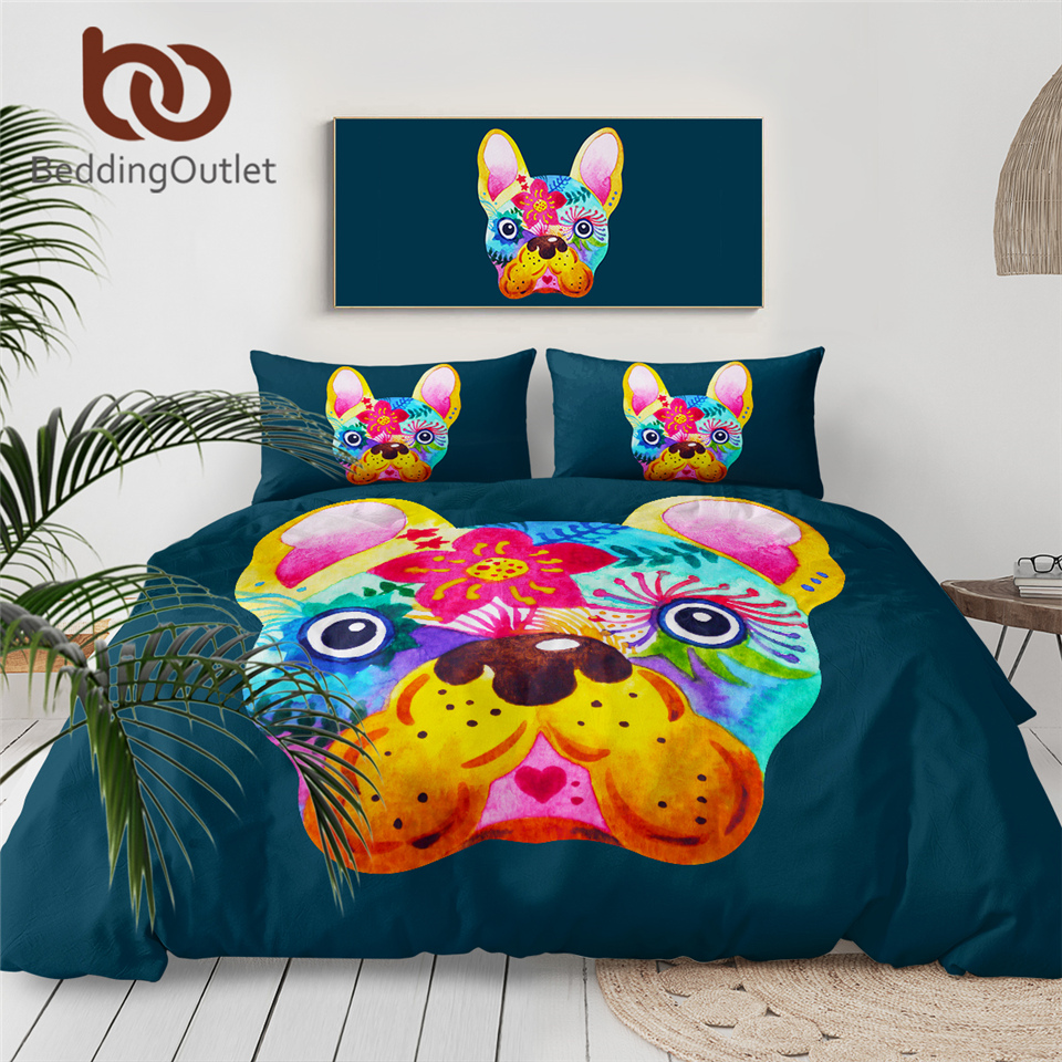 BeddingOutlet French Bulldog Duvet Cover Colorful Bedding Set Watercolor Pet Dog Bed Set Cartoon Animal Floral Bedclothes 3pcs