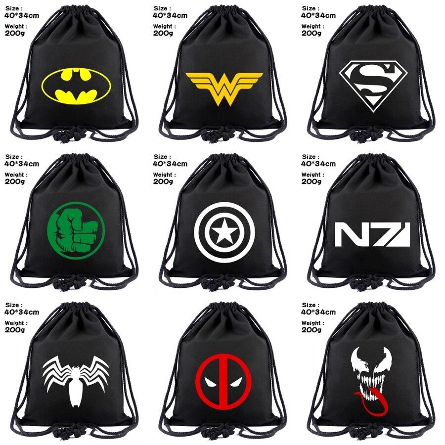 Superhero Deadpool Batman Captain America Canvas Drawstring Backpack Wonder Woman Venom Cosmetic Stringbag Beach Bag Shoes Pouch