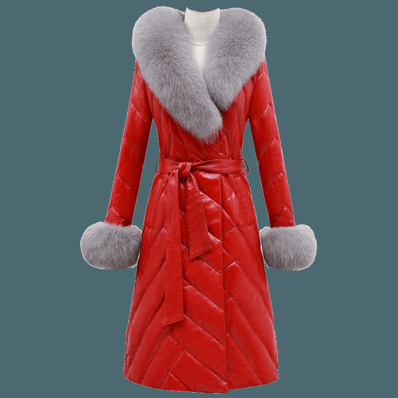 Leather Real Jacket Winter Coat Women Clothes 2020 Sheepskin Coat Female Fox Fur Collar Down Jacket Chaqueta Mujer MY