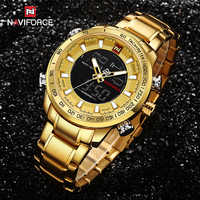 NAVIFORCE Homens Relógio de Ouro Dos Homens do Relógio Do Esporte Digital LED relógio de Pulso de Quartzo Dupla Afixação dos homens Relógios À Prova D' Água Relogio masculino