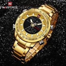 NAVIFORCE Men Clock Gold Watch Mens Digital LED Sport Wristwatch Men's Quartz Du