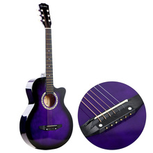 38″ Acoustic Folk 6-String Guitar High Quality Brass String Durable Basswood Body Mahogany Fingerboard for Beginners Students