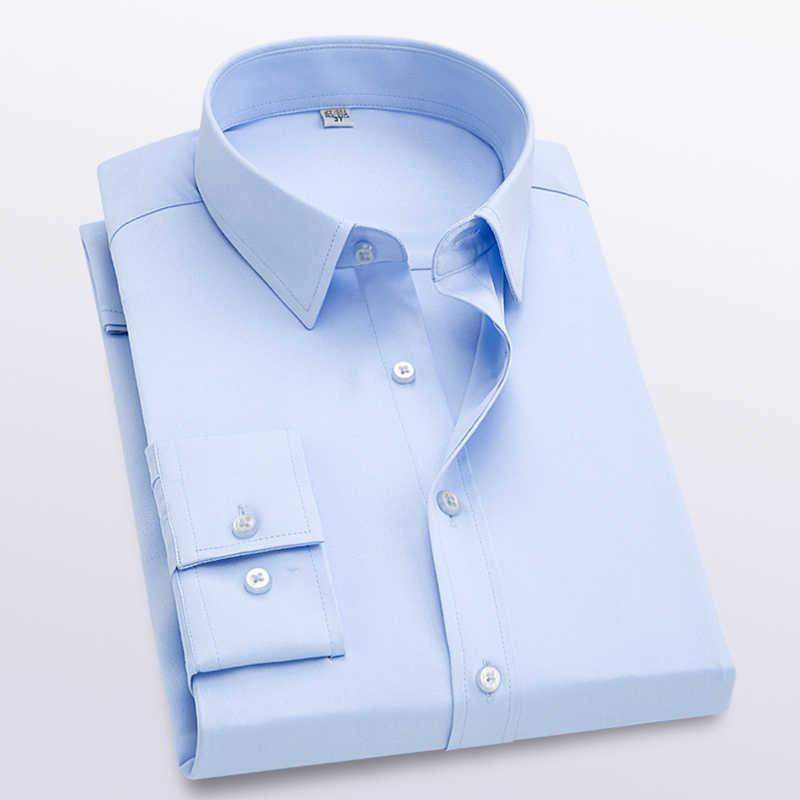 男性のmodis固体長袖シャツスリムフィット快適な長袖シャツメンズビジネスオックスフォードドレスシャツ作業服シャツ