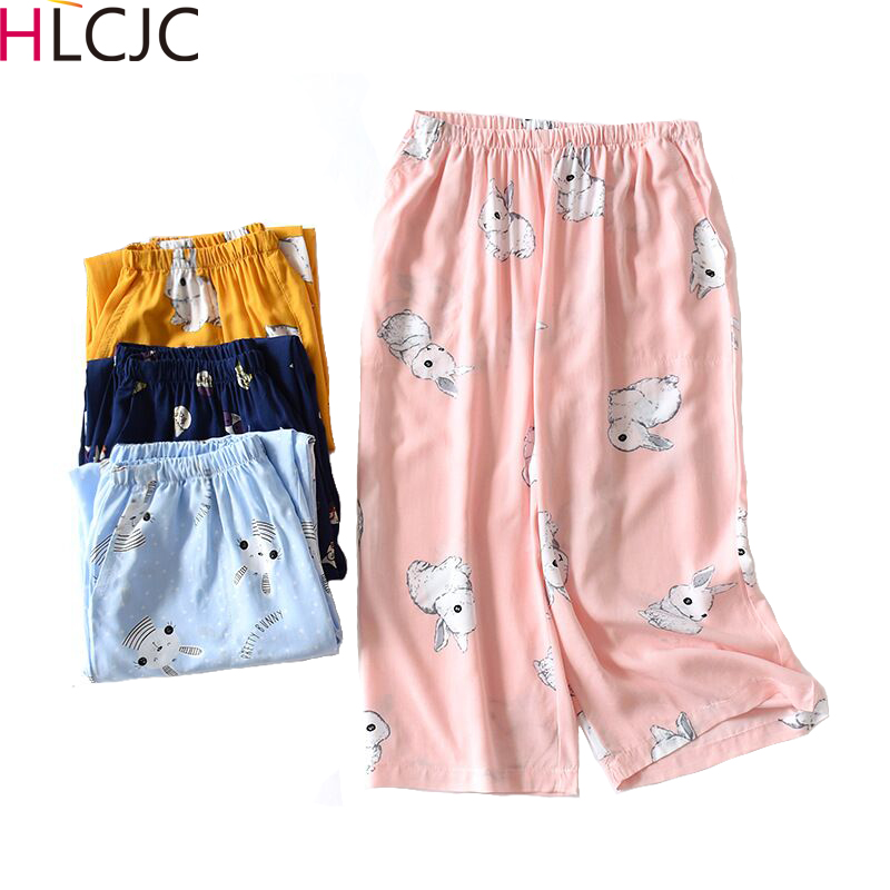 Summer Loose Calf-Length Pants Cool Breathable Cotton Nightpants Thin Printing Pajama Shorts Lounge Sleep Wear for Women Bottoms