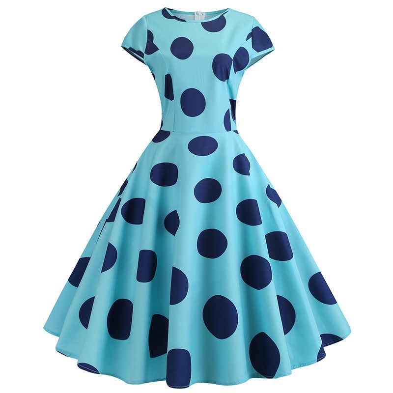 Халат 2019 женское летнее платье в горошек винтажное платье туника тонкий миди вечерние платья Vestidos плюс размер пляжное платье