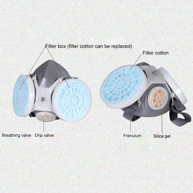Anti flu Anti Virus Mask Double Filter Gas Mask Painting Spraying Anti Dust Fog Haze Facepiece Respirator Protective mask 3