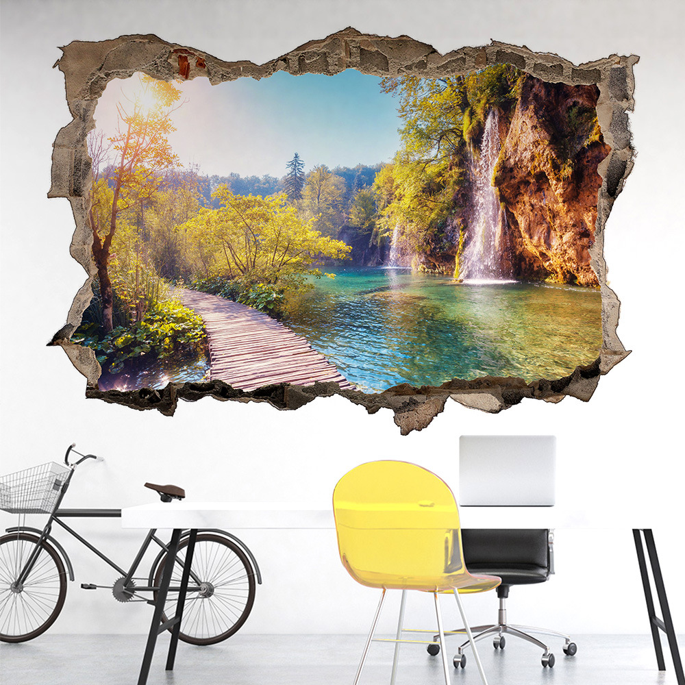 Mountain Water Natural Scenery Door Stickers 3D Broken Wall Vinyl Mural Landscape Wallpaper 1