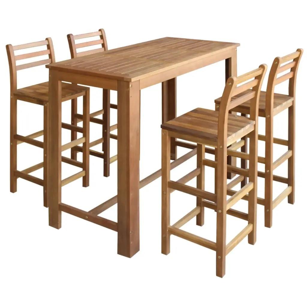 VidaXL Bar Table And Chair Set 5 Pieces Solid Acacia Wood 246669