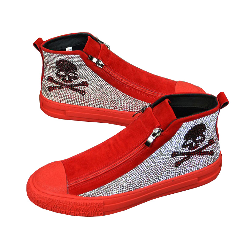 OVXUAN Mens British Skull Casual Vulcanized Shoes for Men Fashion Trending Spring Autumn Leather Boots Diamond Red Sneakers 2021