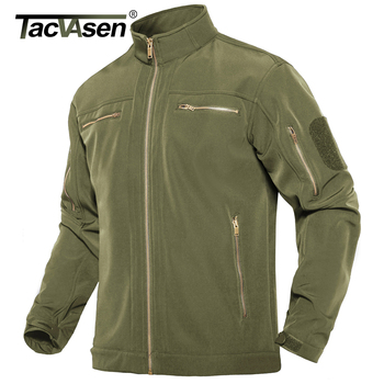 TACVASEN Stand up Collar Military Fleece Jackets Men's Tactical Soft shell Jackets Airsoft Coat Hunting Windbreaker Outwear Male 1
