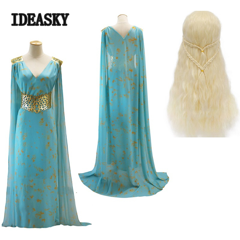 H game of thrones daenerys targaryen costume blue dress cape cosplay season 7 wig halloween costumes for women princess carnaval image