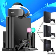 For PS4 Pro Slim / PS VR Move Multifunctional Cooling Stand & Controller Charging Dock Station for Playstation 4 & PS Move ps4 ps4 slim ps4 pro ps vr game disk storage tower console stand holder w controller move charging dock station cooling fan
