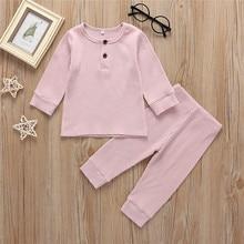 Одежда для сна из хлопка для новорожденных; детская одежда; Пижамный костюм для маленьких мальчиков и девочек; одежда для сна с мультяшным принтом; пижамный комплект; J6