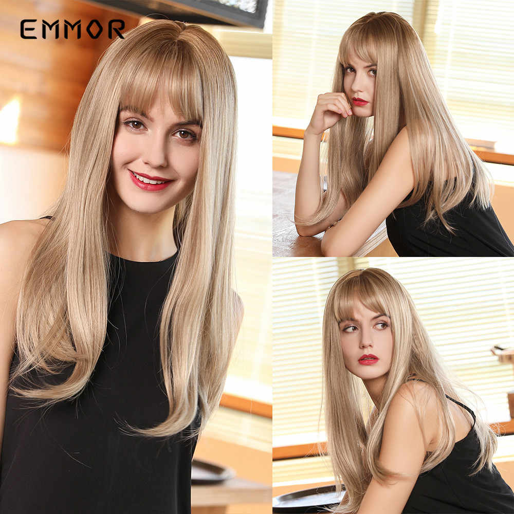 "EMMOR 18"" Long Straight Light Brown Synthetic Wig with Bangs for Women High Density Heat Resistant Cosplay Daily Use Hair Wigs"