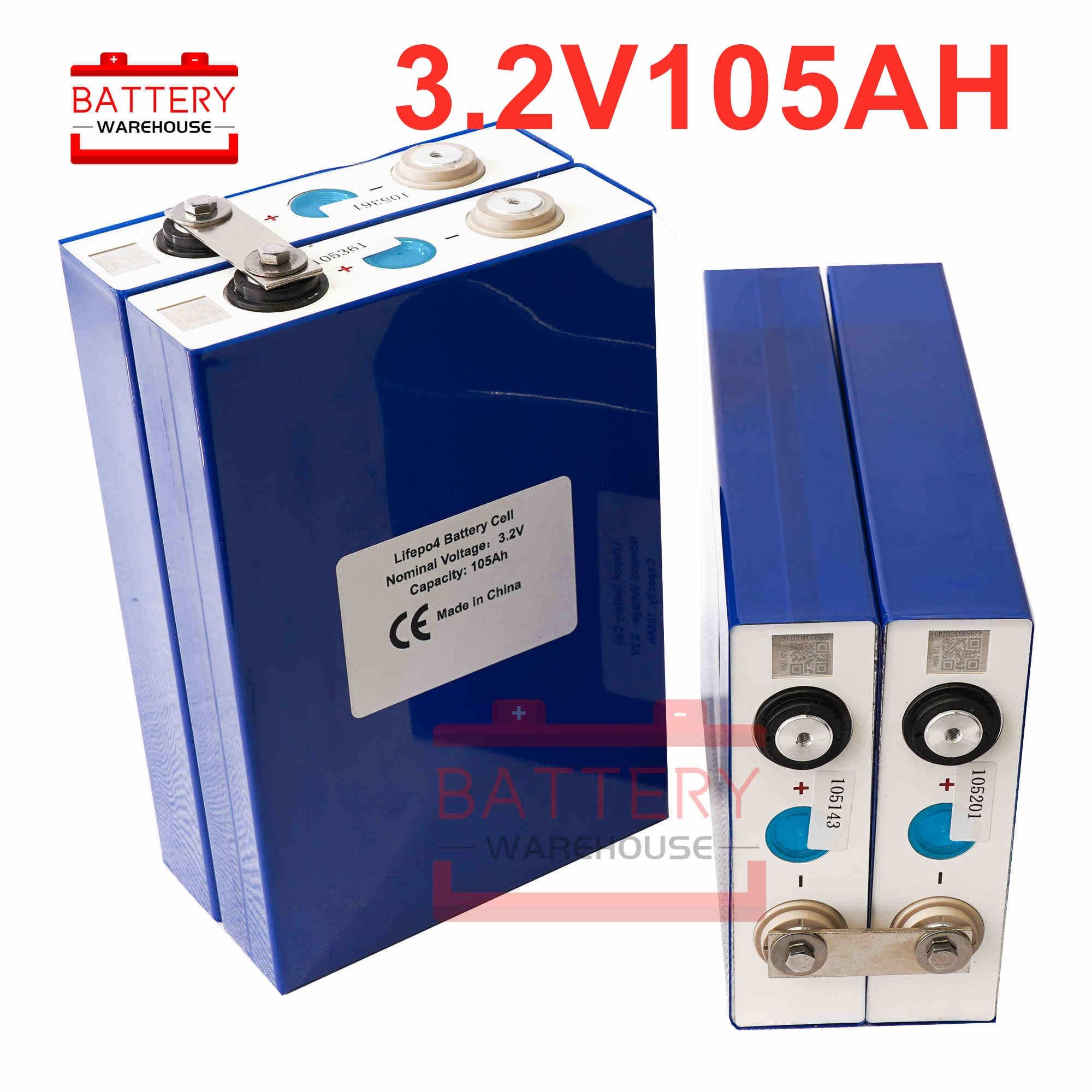 4 pièces 3.2v 100Ah 105Ah lifepo4 batterie batterie au lithium grande capacité 3C décharge for12V 24V stockage d'énergie solaire RV batterie