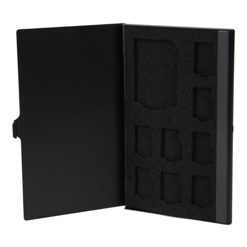Portable Menmory Card Case Monolayer Aluminum 1SD+ 8TF <font><b>Micro</b></font> <font><b>SD</b></font> Card Pin <font><b>Storage</b></font> Box Case Holder Memory Card <font><b>Storage</b></font> Cases Black image