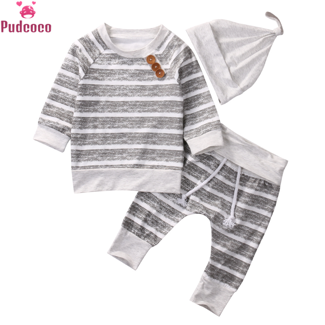 2 Peices Autumn Newborn Infant Clothing Set Baby Boys Striped Tops T-shirt+Pants Leggings Outfits Newborn Clothes