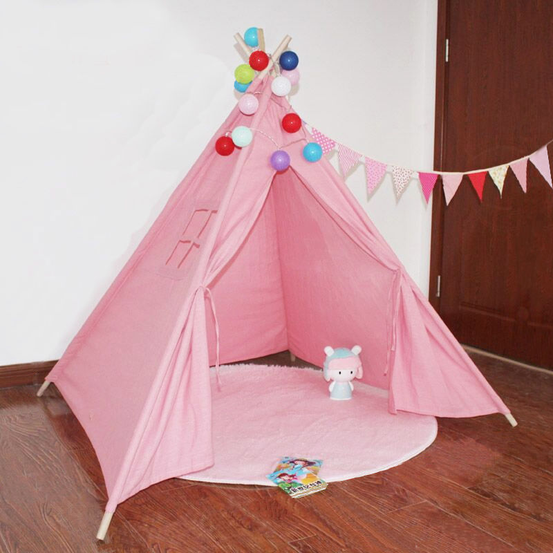Portable Cotton Canvas Tipi Folding Indoor Children's Tent Teepee Original Triangle Indian Kids Tent Wigwam Little Play House