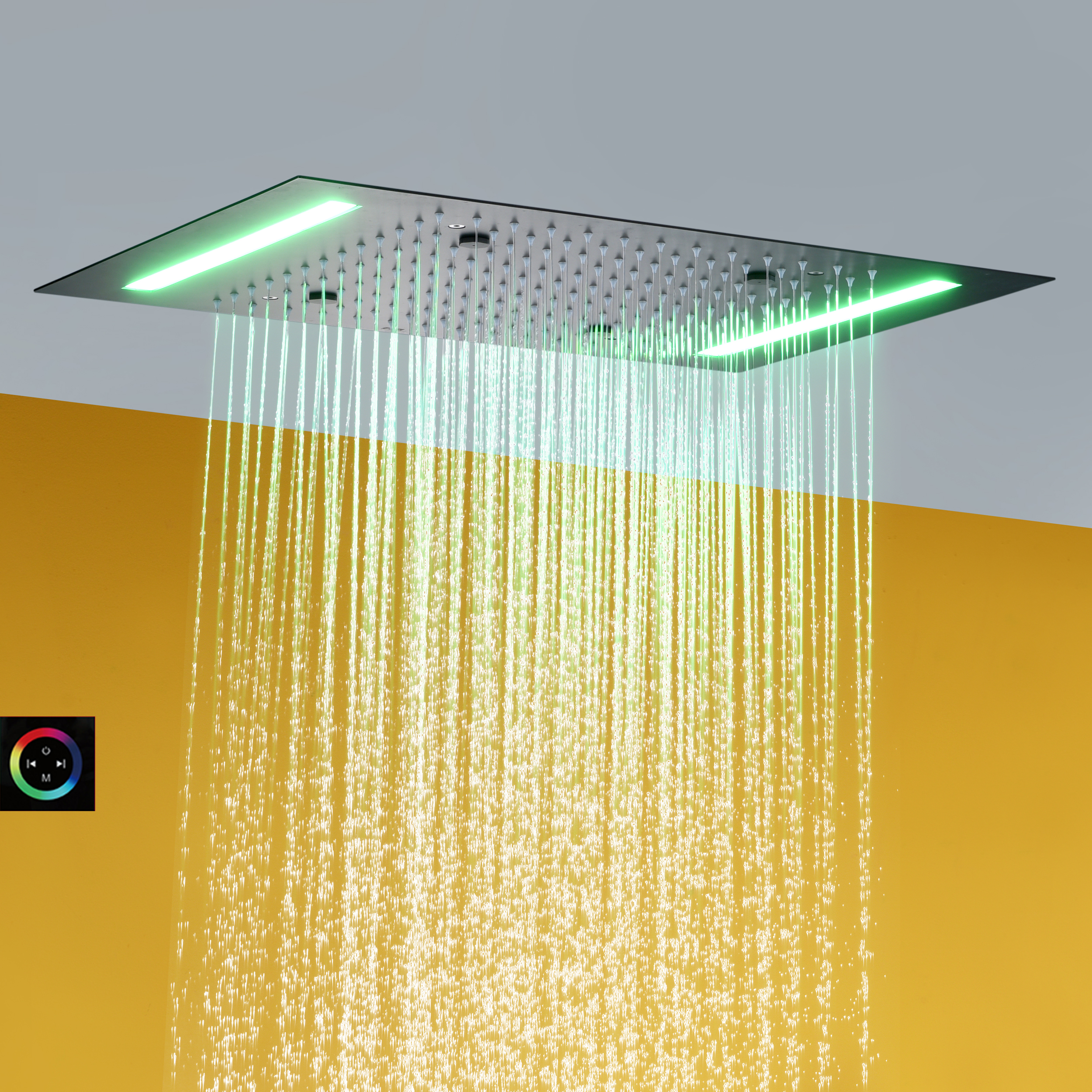 Rain And Atomizing Bathroom Shower Head 100V~240V Alternating Current LED Touch Screen Control Bath Top Shower Mixer Faucet Set
