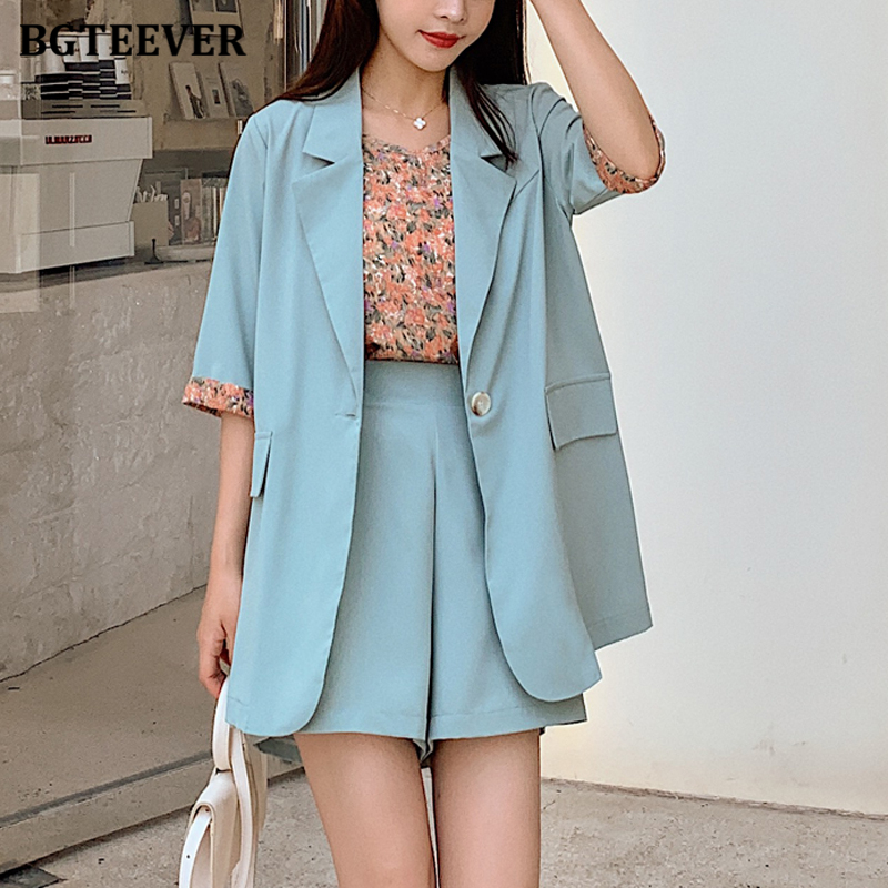 BGTEEVER 3 Pieces Female Shorts Set Short Sleeve Blazer & Loose Shorts & Shirts Summer Short Pant Suits For Women Tracksuit
