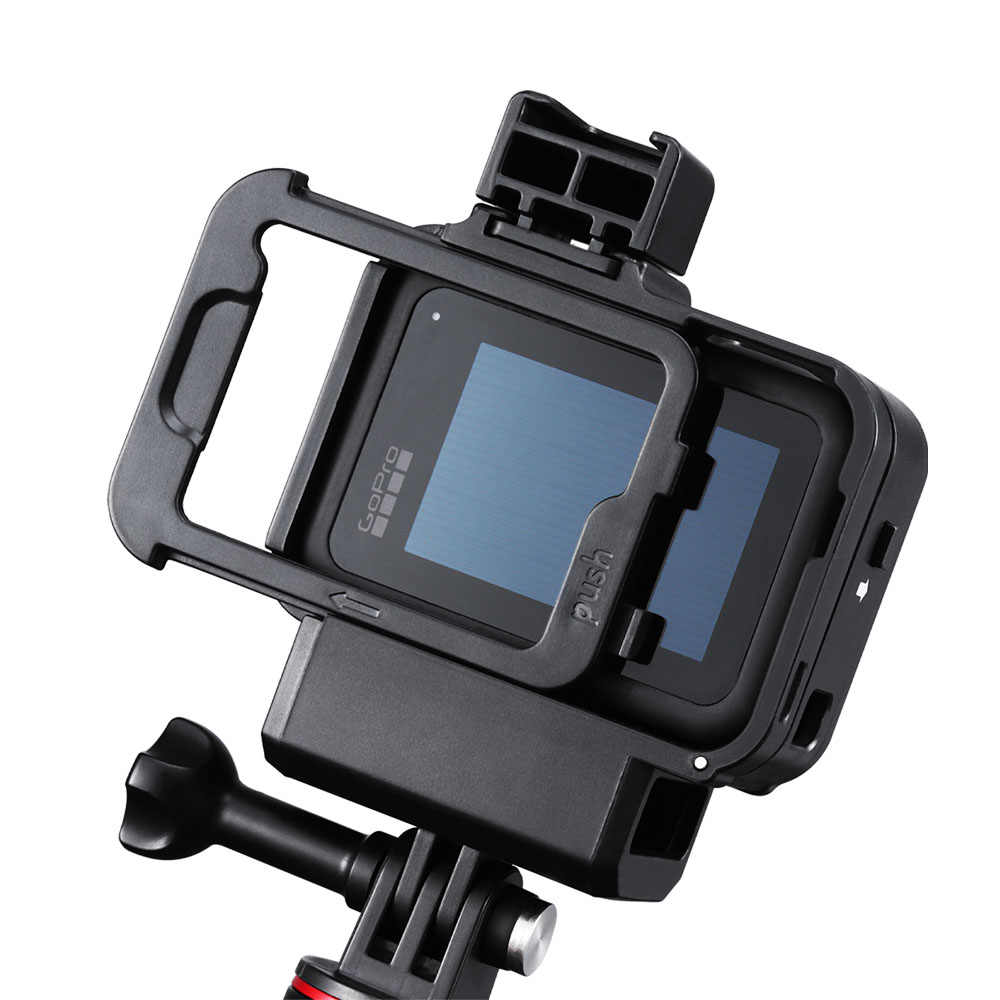 Ulanzi G8-9 plastikowa klatka dla GoPro 8 Hero 8 czarna obudowa z adapterem zimnego buta Adapter mikrofonu filtr światła wypełniającego Vlog akcesoria