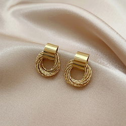 Korea Design Drop Earrings Metal Geometric Irregular Circle Teardrop Vintage Winter Earrings For Women Girl Gift