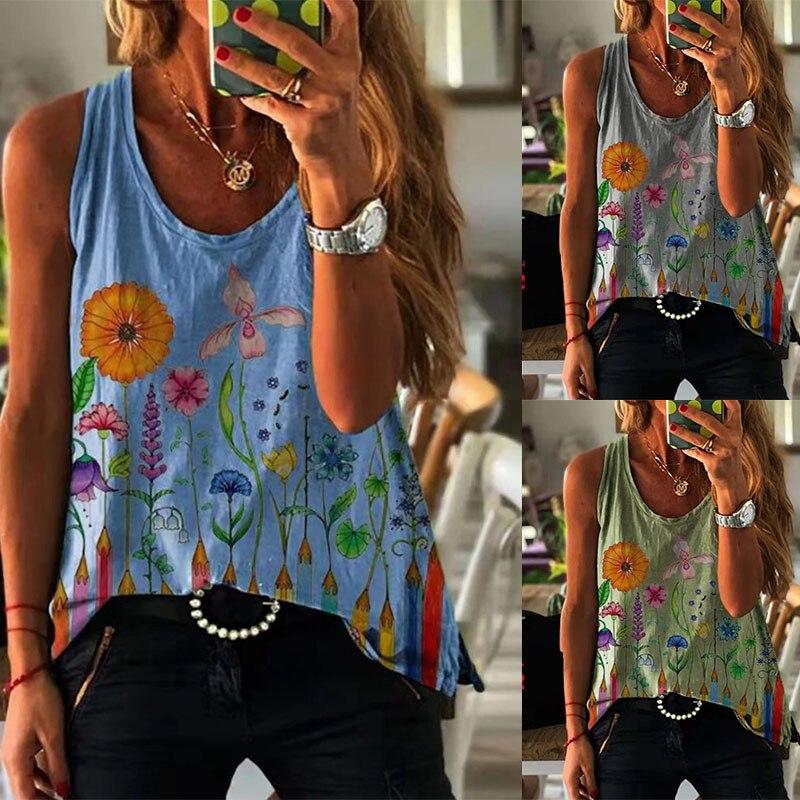 Женский жилет с принтом, Повседневная Свободная модная футболка без рукавов, крутые майки с V-образным вырезом, лето 2021