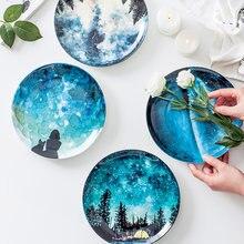 Plato de desayuno de porcelana de hueso de estrellas de 8 pulgadas, vajilla de regalo para decoración del hogar, placa de cerámica hecha a mano para pastel, repostería, plato para pastel de frutas
