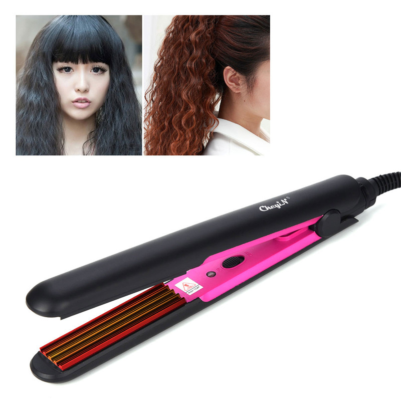 2 In 1 Professional Fast Heating Ceramic Hair Corn Plate Curler Crimper Corrugation Curling Iron Wand Hair Heated Roller