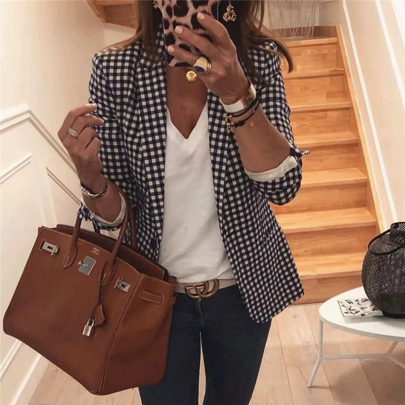 New Arrival Office Ladies Simple Plaid Blazer Long Sleeve Notched Double Breasted Blazer Mujer Fashion Checker Jacket Coat Woman